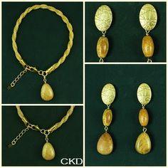 Maxi brincos e pulseira com pedra jaspe! www.ckdsemijoias.com.br