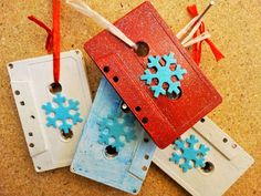 Snowflake Themed Music Cassette Tape Ornament's  by DorenesXXOO