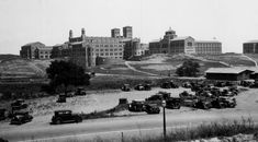 This is a panoramic view looking southeast showing the UCLA campus The building on the left is the backside of Royce Hall. It was taken frim Westwood Boulevard, which at the time ran through the new campus, and adjacent parking was free. Ucla History, Ucla Campus, Royce Hall, Westwood Village, Ucla Bruins, History Images, Vintage Pictures, Santa Monica, Old Photos