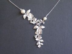 10% off-Necklace Wild Orchid Flower Bridesmaids gift by JJcreation