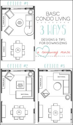 A Runaway Muse: Designs U0026 Tips For Downsizing To Condo Living Room Layout  Ideas OPTION 3