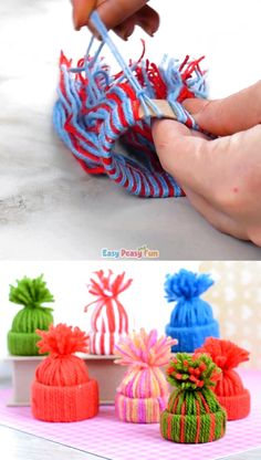 Mini Yarn Hats Ornaments DIY Christmas Ornaments If you are looking for the cutest DIY Christmas ornament ever you just have to give these mini yarn hats ornaments a go. The post Mini Yarn Hats Ornaments DIY Christmas Ornaments appeared first on Christmas Ornament Crafts, Xmas Crafts, Diy Christmas Gifts, Simple Christmas, Christmas Tree, Homemade Christmas, Diy Ornaments, Pallet Christmas, No Sew Crafts