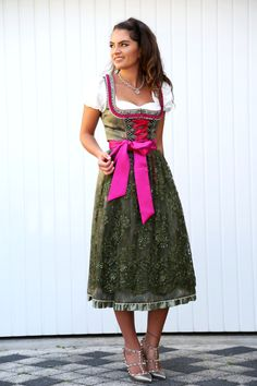 FashionHippieLoves - Silver-green and pink Dirndl+white blouse+silver Valentino rockstud pumps. Oktoberfest outfit 2016