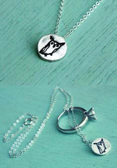 """This miniature horned owl necklace is handcrafted out of eco-friendly reclaimed silver allowing you to take a tiny token of nature with you wherever you go. Threaded onto an 18"""" fine silver chain this"""