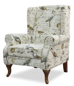 Rocking Chair Cushions, Chair And Ottoman, Wingback Chair, Chair Upholstery, Small Grey Bedroom, Island Chairs, Puff, Chair Fabric, Bird Fabric