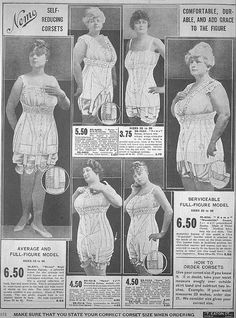"""These corsets are listed as available in up to size 36 (36 inches) which means that they were designed to fit waists between 38 and 46 inches in diameter! Don't let anyone tell you plus sizes didn't exist in the past! 