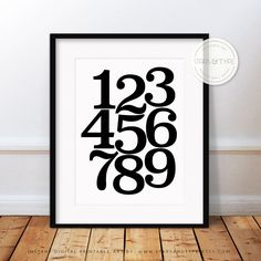 Numbers 1-9, Scandinavian Poster, 123 Printable Wall Art, Scandi Typography, 123456789, Black & White, Minimalist Type Design, Digital Print by StarsAndType on Etsy