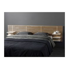 MANDAL Headboard, birch, white 94 1/2 (without the shelves for a king?)