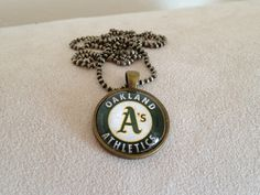 Oakland A's Pendant Necklace by QUEENBEADER on Etsy, $15.25