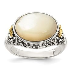 Shey Couture Sterling Silver with 14K accent Antiqued Floral Oval Mother Of Pearl Ring / STYLE: QTC1746-8 #MotherOfPearlRing Pearl Ring, Jewelry Trends, Body Jewelry, Fashion Rings, Gemstone Rings, Jewels, Couture, Gemstones, Sterling Silver