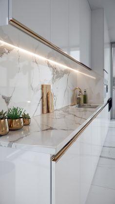 Small Home Remodel Modern Kitchen Timeless Calacatta Grey Kitchen Room Design, Luxury Kitchen Design, Kitchen Cabinet Design, Luxury Kitchens, Home Decor Kitchen, Modern House Design, Interior Design Kitchen, Gold Kitchen, Kitchen Modern