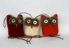 Three (3) Owl ... eco felt snow white, cranberry and candy red wool felt ornament all recycled Christmas (woolcrazy). $34.00, via Etsy.