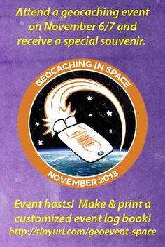 Make a free custom log book for the November Geocaching in Space events.  Service provided by Island Buttons.