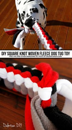 DIY Dog Toys: How to Make a Square Knot Fleece Tug Toy (Includes DIY Instructions, Pictures, and Diagram) dog toys DIY for Dogs: How to Weave a Fleece Dog Tug Toy Cute Dog Toys, Best Dog Toys, Diy Dog Toys For Big Dogs, Diys For Dogs, Diy Puppy Toys, Cute Dog Stuff, Diy Tumblr, Diy Pour Chien, Diy Pet
