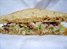Tarragon Chicken Salad with Pecans and Cranberries - The warm, homey taste of roasted chicken plays against the tartness of the vinegar, the sweetness from the cranberries, just a bit of crunch - courtesy of the pecans and celery, and in the background... a mildly licorice taste from the fresh tarragon.