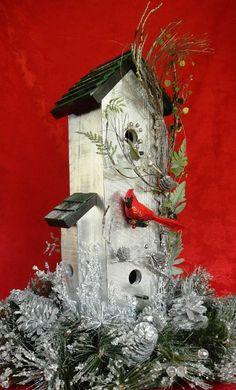 Bird House Rustic Christmas Wreath 258 by Forthebirdsandmore, $69.95