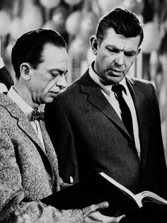 Andy Griffith (right) as Sheriff Andy Taylor and Don Knotts (left) as Deputy Barney Fife, in a scene from the  'The Andy Griffith Show', Jan. 24, 1963. (AP Photo)