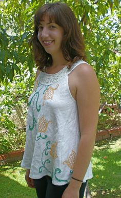 Upcycled embroidered tablecloth swing tank top