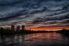 Sunset on Red River in Winnipeg, Manitoba. Photo by Jim J.H.