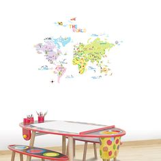 Multicoloured World Map Wall Stickers