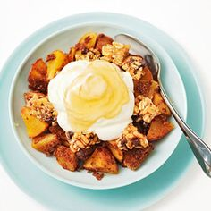 Breakfast Peach Cobbler...  Chop 1 peach into 3/4-inch pieces; mix with 1 tablespoon whole wheat flour and 1/2 teaspoon cinnamon.  Microwave 2 to 3 minutes and stir.  Add 1 crunchy granola bar (around 90 calories), broken into pieces, and microwave 1 minute.  Top with 1/2 cup low-fat Greek yogurt and 2 teaspoons honey.