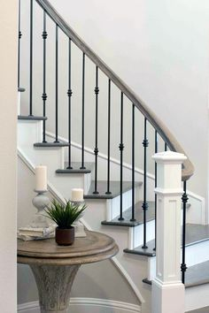 Home Decor Plants staircase runner ideas.Home Decor Plants staircase runner ideas Rustic Staircase, Wrought Iron Stair Railing, Staircase Runner, Stair Railing Design, Staircase Remodel, Staircase Makeover, Staircase Railings, Staircase Ideas, Bannister