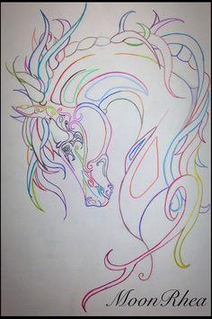 Wild Colors by MoonRhea #zentangle #horse #art Zentangle Horse Art with Prismacolor Pencils