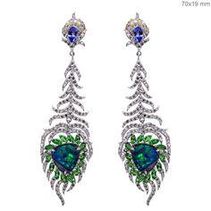 Tanzanite Tsavorite 18k White Gold PEACOCK FEATHER Dangle Earrings NEW ARRIVALS! #Handmade #DropDangle