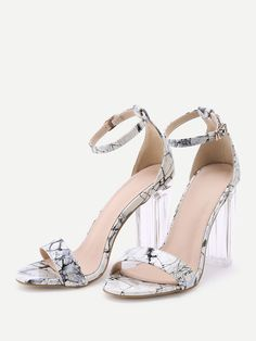 1a68fb5ce6df Shop Marble Print Patent Leather Two Part Heeled Sandals online. SHEIN  offers Marble Print Patent Leather Two Part Heeled Sandals   more to fit  your ...