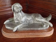 Golden Retriever Pewter Motif on Seven day chrome polished pill box gift