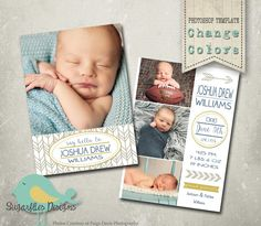 Etsy listing at https://www.etsy.com/listing/223157759/baby-announcement-photoshop-template