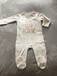 Gorgeous little baby grow from Next with her little sister status on it. Little Sisters, Little Babies, Sister Status, Baby Grows, Baby Items, New Baby Products, Kids, Clothes, Baby Jumpsuit