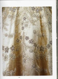 Embroidery on the wedding gown of Princess Elizabeth, now Queen Elizabeth II, and Prince Philip.