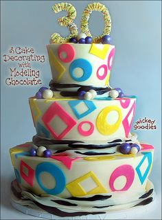 80's cake decorated in modeling chocolate, from the new book by Wicked Goodies