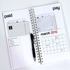 Clever 2012 bills calendar—lets you organize which bills you've paid, and which ones you need to pay for the month. Nice!