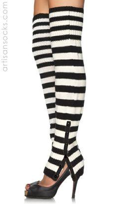 Striped Extra Long Side Snap Leg Warmers from Artisan Socks www.artisansocks.com