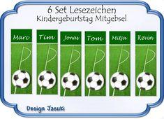 * Mitgebsel Lesezeichen Fußball entworfen, auf Fotopapier bedruckt und laminiert. Bei Bestellung bitte den Namen angeben. Andere Stückzahlen immer möglich. * Größe/Maße/Gewicht 18 x 6...