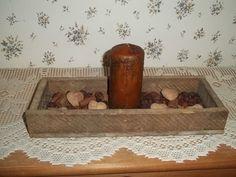 Primitive Barnwood Box Grubby Pillar Candle Fixins Hearts EB 726 #NaivePrimitive #myself