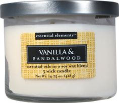 Candle-lite Essential Elements 14-3/4-Ounce 3 Wick Candle with Soy Wax, Vanilla and Sandalwood -- Want to know more, visit…