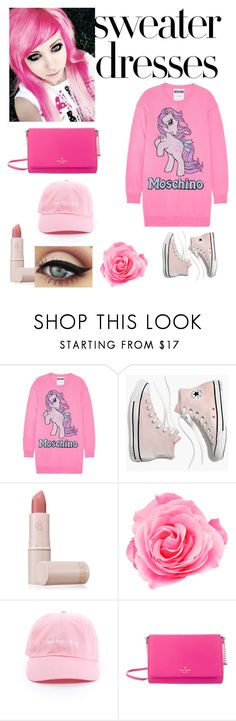 """""""pink sweater dress"""" by ningyo-mahoutsukai on Polyvore featuring Moschino, Madewell, Lipstick Queen and Kate Spade"""