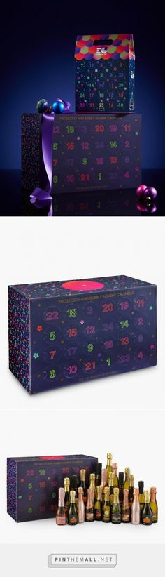 John Lewis have launched an advent calendar just for sparking fun for the festive season. The calendar includes 200ml of prosecco, sparkling wine and cava and more. The packaging of the calendar is a dark blue/navy box printed with purple, green, pink and red confetti like pattern. The glowing numbers are printed on the front side with circle patches that can be torn to reveal to delights.  Designed by John Lewis