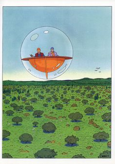 I like how Moebius draws landscapes, and some of his imagery, like this, is really great!