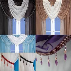 Crystal Beaded Voile Curtain Swags All Colours - Pelmet Valance Net Curtains | eBay