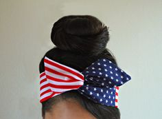 American flag Dolly bow Patriotic wire head band, American flag head band, hair accessory made with navy blue and white stars mixed with red and white