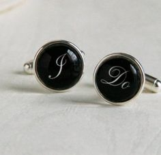 I Do Cufflinks - for Him with Love Custom Silver Cuff Links - perfect for Groom or Wedding Day
