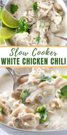 This delicious Crockpot White Chicken Chili is a creamy change of pace from your typical chili. The luscious and creamy flavor made right in your crockpot is perfect for a chilly evening!