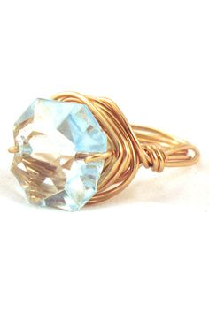 Pale Blue & Gold Cocktail Ring