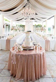 42 Glamorous Rose Gold Wedding Decor Ideas ❤ rose gold wedding decor glitter table corch ryonlockhartphotography #weddingforward #wedding #bride