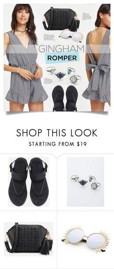 """""""Gingham Romper"""" by mahafromkailash ❤ liked on Polyvore featuring bow, openback, romper, gingham and shein"""