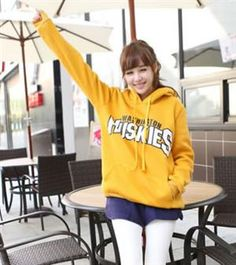 Korean Fashion Hit Color Letters Hooded Sweater